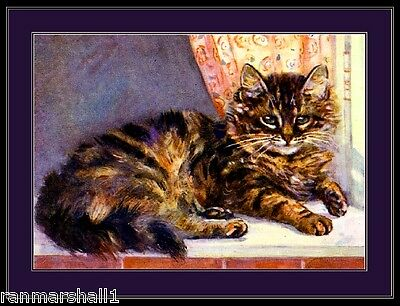 English Picture Print Tabby Persian Kitten Cat Cats Kittens Vintage Poster Art