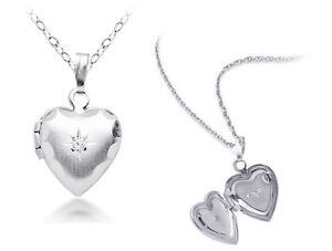 Natural-White-Sapphire-Heart-Picture-Locket-w-Chain-Sterling-Silver