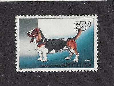 Dog Art Full Body Portrait Postage Stamp BASSET HOUND Netherlands Antilles MNH Basset Hound Dog Portrait