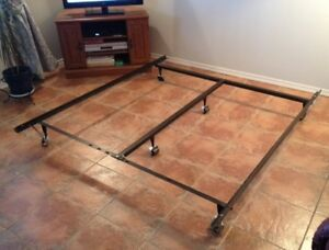 STURDY QUEEN BED FRAME WITH CENTRE BAR & CASTERS