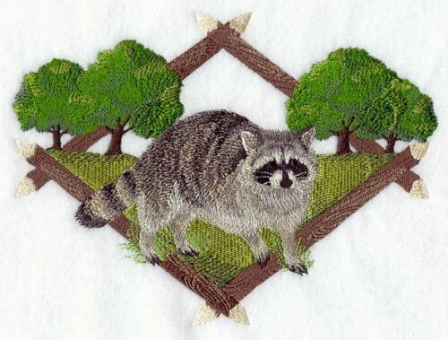 Large Embroidered Zippered Tote - Raccoon Diamond Portrait A5042r