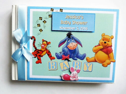 Winnie the Pooh and friends boys Baby Shower / Birthday guest book, album, gift