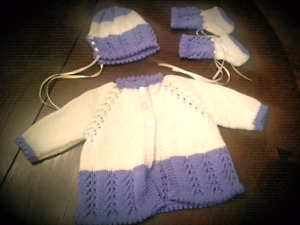 Hand Knitted Baby Clothes and Blanket