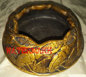VINTAGE JAPANESE GOLD POTTERY BOWL with STAG BEETLES, c1920's