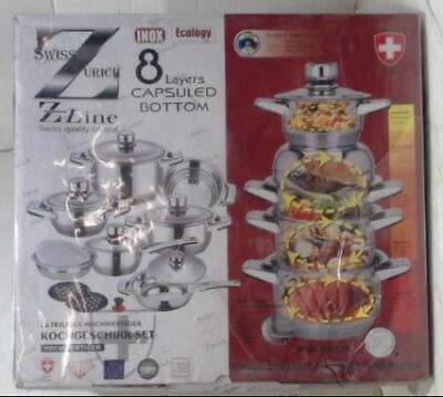 NEW Swiss Zurich Z Line 16pc Induction Cookware Set Capsuled Bottom USD $2726