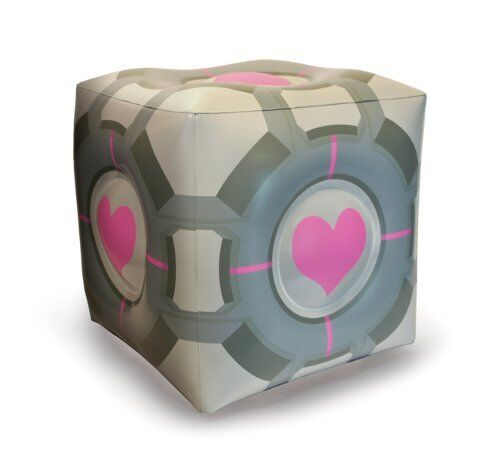 """PORTAL - Companion Cube 19"""" Inflatable Ottoman (A Crowded Coop) #NEW"""