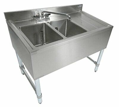 Stainless Steel Under Bar Two Compartment Sink Right Drainboard 19x36