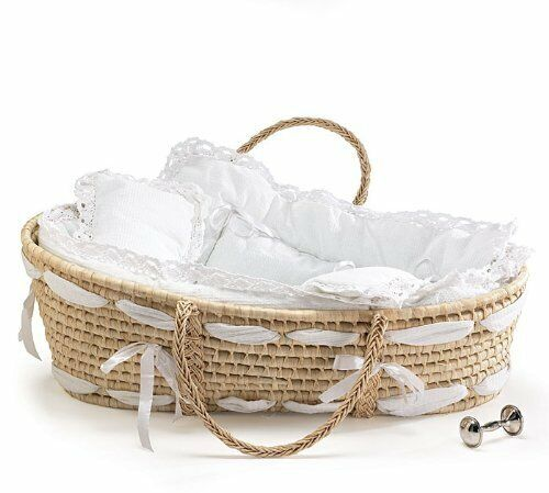 Burton and Burton Natural Baby Moses Basket with White Lace Bedding - NEW