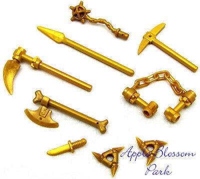 NEW Lego Ninjago Ninja GOLD WEAPON SET Castle Minifig Nunchuck Shuriken Bone Axe