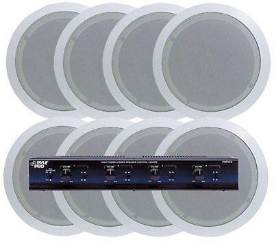 Pyle 4 Room In-Ceiling Speaker System 8 x 5.25 Speakers & 4 Channel (4 Channel Speaker System)