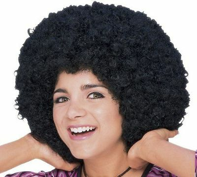 Afro Black Wig Mid Length Black One Size 70's Pimp Funny Hilarious Tight Curls - Wigs Funny