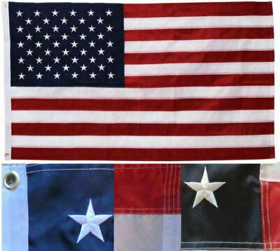 8X12 FT UNITED STATES FLAG American USA Heavy Duty Nylon Embroidered Stars Sewn