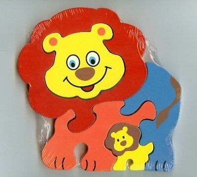 Fun Wooden Colorful Puzzle Jigsaw - Traditional Wood'n'Fun: Baby/Toodler Wooden Colourful Lion & Cub Jigsaw/Puzzle