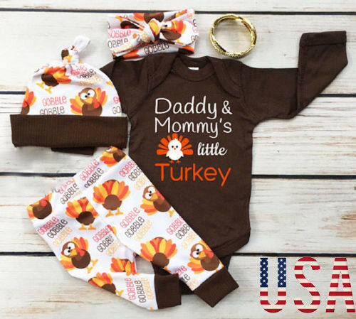 Thanksgiving Baby Boy Girl Romper+Pants Leggings Set Infant Clothes Outfit Gifts