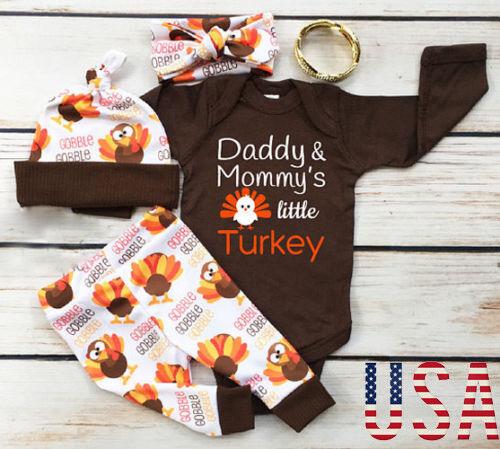 Thanksgiving Baby Boy Girl Romper+Pants Leggings Set Infant