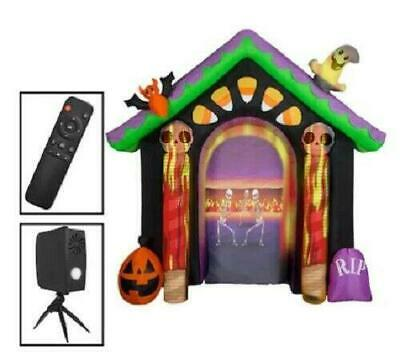 Gemmy 8.7-ft x Haunted House Arch w/ projector Halloween Inflatable Prop