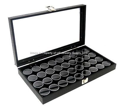1 Glass Top Lid Black 36 Jar Box Case Display Gems Body Jewelry Gold Nugget