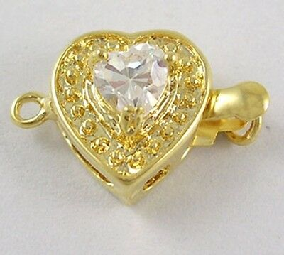 Bright Gold Heart 1-Strand Box Clasp with Clear Rhinestone Heart Accent 1 piece