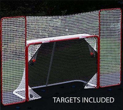 Ezgoal Sport Steel Folding Hockey Backstop Barrier With Targets Sports Red White