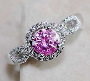 SOLID STERLING SILVER WITH GENUINE 1 CARAT PINK SAPPHIRE, SIZE 8