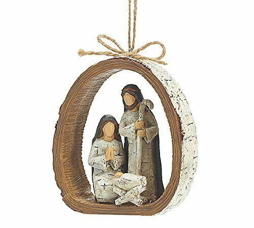 BIRCH BARK RING HOLY FAMILY Nativity Christmas ORNAMENT Mary Joseph Baby Jesus