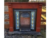 115 Cast iron Fireplace Fire Surround Old Tiled Insert Antique Victorian Style