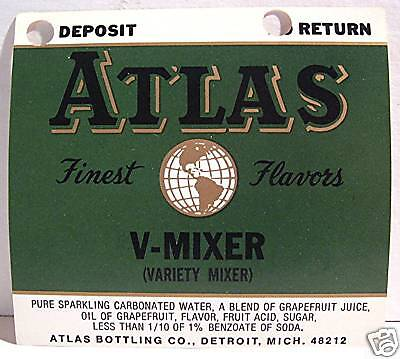 Atlas Bottling V-Mixer Old Soda Label Detroit Michigan