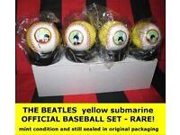 BEATLES SET OF FOUR YELLOW SUBMARINE BASEBALLS