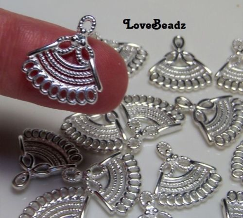 16 Tiny Earring Components-Shiny Silver Metal Connectors-$30 Orders Ship FREE