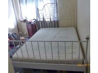 IKEA LEIRVIK White Bed Frame with standard double sprung mattress