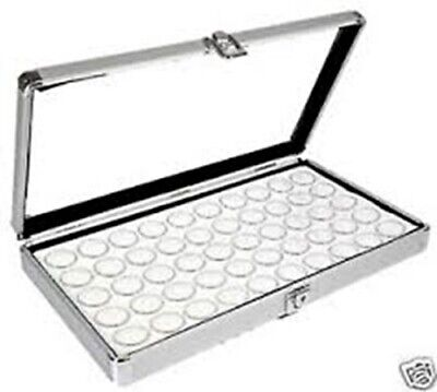 1 Aluminum Display Case Box 50 Jar White Gems Body Jewelry Gold Nuggets