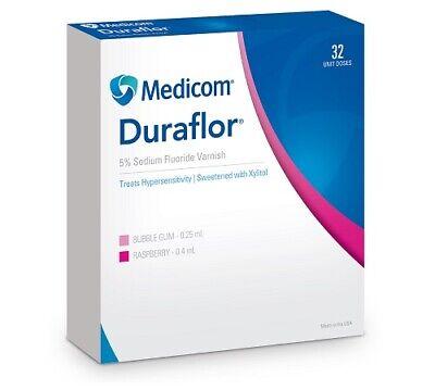 Duraflor 5 Sodium Fluoride Varnish Raspberry - 0.40ml X 32 Unit Doses - Medicom