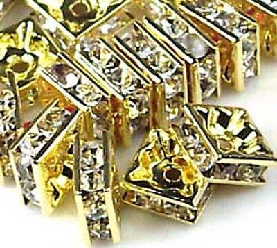 8mm Golden Rhinestone Square Rondelle Beads (30pc) , A Grade