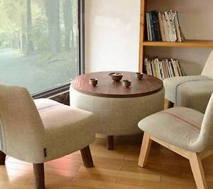 JM Wooden Round Cloth Fabrics Coffee Tea Side Table Storage Kellyville The Hills District Preview