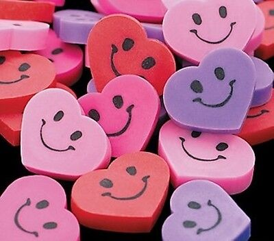 96 Smiley Face Shaped Heart Erasers Valentine's Day Party Favor Loot Treat Bag