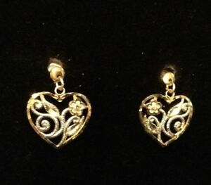Heart-Shaped Earrings - real yellow/white gold