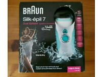 New & Sealed Braun Silk-epil 7 -7511WD Dual Epilator + 5 extras