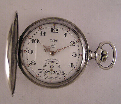UNIQUE Serviced 1920 Hi Grade Solid Silver Omega TYPE MF Pocket Watch Perfect
