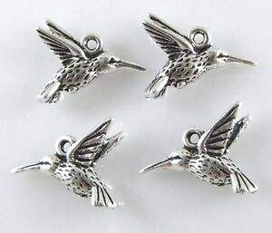 TierraCast Pewter Charms-ANTIQUE SILVER HUMMINGBIRD (4)