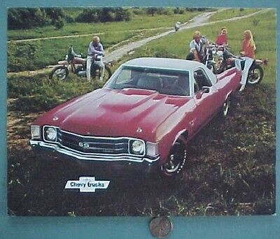 1972 Chevrolet El Camino Show Chevy pickup truck oversized color postcard-NICE!