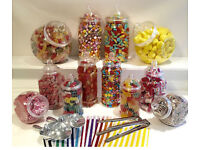 Sweet cart Jars with scoops, bunting/ribbon, bags and FREE sweets! Everything you'll need