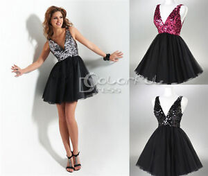 Sexy-Sequined-V-neck-Cocktail-Evening-Prom-dress-Party-Clubwear-SZ-6-8-10-12-14