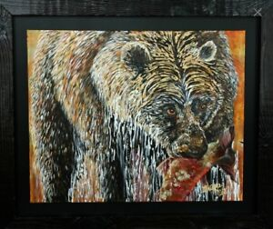 Grizzly Bear. Original Acrylic painting by local artist.