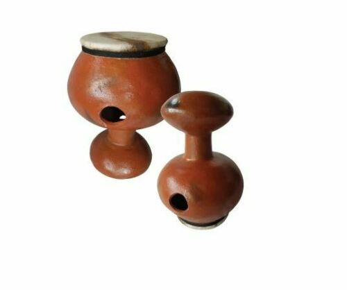 Udu clay drum with goat skin mit Haut M