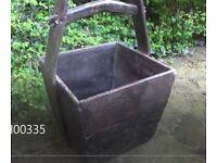 Vintage antique Chinese planter ornament pot original wooden rustic authentic
