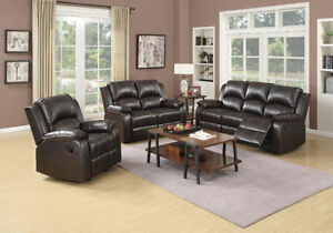 3 PC LEATHER AIR RECLINER SOFA SET $1398
