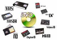**Video and Audio Transfers** - VHS/VHS-C/8mm/Hi8/MiniDV to DVD