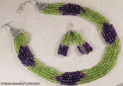 Amethyst Peridot 925 Sterling Silver Necklace and Earrings Jewelry SET Amethyst Peridot Jewelry Set