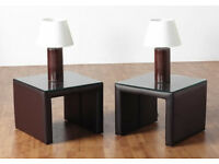 NEW 2 X LUXOR GLASS TOPPED BEDSIDE LAMP TABLE Expresso Brown PVC/Clear Glass