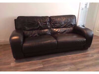 2 & 3 seater DFS dark brown leather sofas with matching foot stool, very good condition